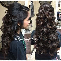 Pin curl updos are another updo hairstyle where the updo hair is curled. Half Updo Wavy Curls In 2019 Quinceanera Hairstyles Updo By Robby Garza On Frizo In Quince Hairstyles, Bride Hairstyles, Curled Hairstyles, Cool Hairstyles, Sweet 16 Hairstyles, Indian Bridal Hairstyles, Wedding Hair Down, Wedding Hair And Makeup, Long Curly Wedding Hair