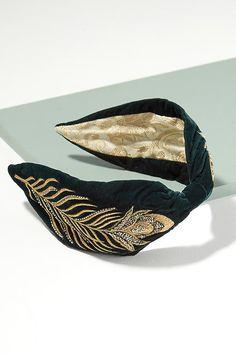 Slide View: 1: Tulia Peacock Embroidered Turban