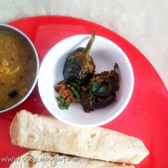 Roasted poppy seed and tamarind sauce jazzes up baby eggplant in this Andhra-inspired dish. Baby Eggplant, Tamarind Sauce, I Foods, Poppies, Roast, Seeds, Dishes, Ethnic Recipes, Plate