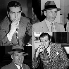 """Smooth Criminals Clockwise from top-left: Charles """"Lucky"""" Luciano, Meyer Lansky, Benjamin """"Bugsy"""" Siegel, Frank Costello Real Gangster, Mafia Gangster, Gangster Movies, Mafia Crime, Police Crime, Italian Mobsters, Bugsy Siegel, Frank Costello, Female Poets"""