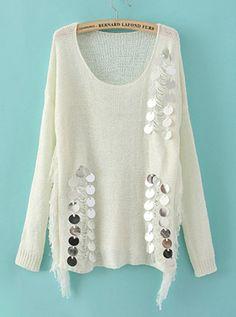 Sequins Round Neck White Sweater