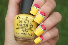 cool watermelon nails