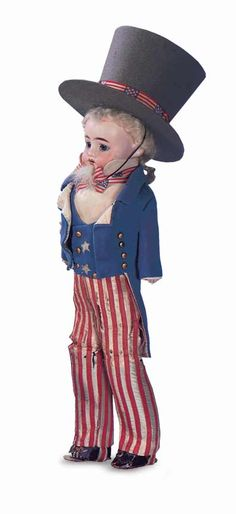 German Bisque Doll in Wonderful Uncle Sam Costume. Circa 1890. http://Theriaults.com