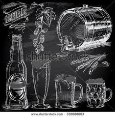 hand drawn beer set on chalkboard - stock vector