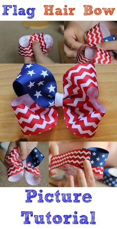 Awesome Patriotic Crafts for Kids You Need to See Patriotic Crafts for Kids – Celebrate the Red, White and Blue!Patriotic Crafts for Kids – Celebrate the Red, White and Blue! Making Hair Bows, Diy Hair Bows, Diy Bow, Bow Making, Patriotic Crafts, July Crafts, Hair Ribbons, Ribbon Bows, Ribbon Flower