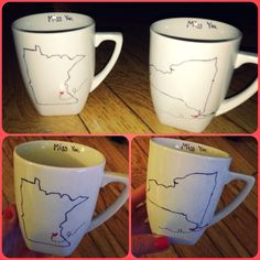 DIY homemade long distance relationship coffee mugs... easy, inexpensive and cute! use sharpies on a plain white mug. bake in oven for 30 mins in 350 degrees. perfect gift for anniversaries!