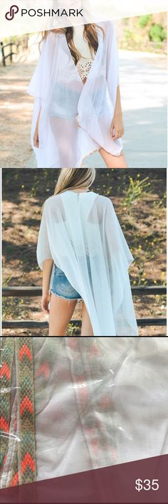 JUST IN | White Kimono White Kimono with Armholes. & a lovely trim. Great for this Summer. 💦 can be used as a cover up. One Size Fits Most. PRICE IS FIRM. Pink Bee Sweaters Shrugs & Ponchos