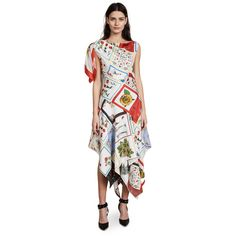 Monse Patchwork Dress (2,583 CAD) ❤ liked on Polyvore featuring dresses, ivory multi, white sleeveless dress, one shoulder dress, floral print dress, winter white dress and white floral print dress