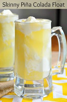 Recipe for Skinny Pina Colada Float - I have a very easy, skinny and such a delicious dessert idea today! It's a Skinny Piña Colada Float…yummo!