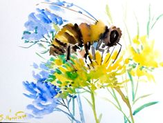 Bee, original watercolor painting, 12 X 9, bee art, bee painting, flying bee, abstract bee art