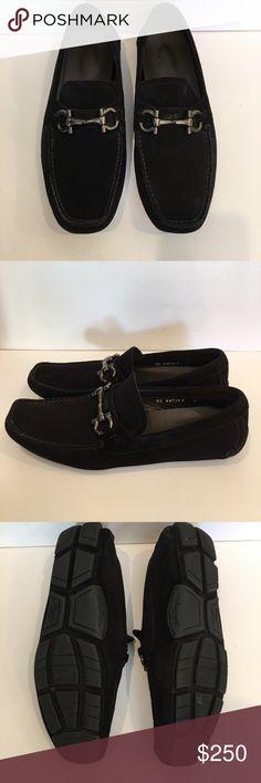 cf0e380a3d19 Men s Salvatore Ferragamo black suede loafers Black suede square toe  loafers with gunmetal hardware. Very