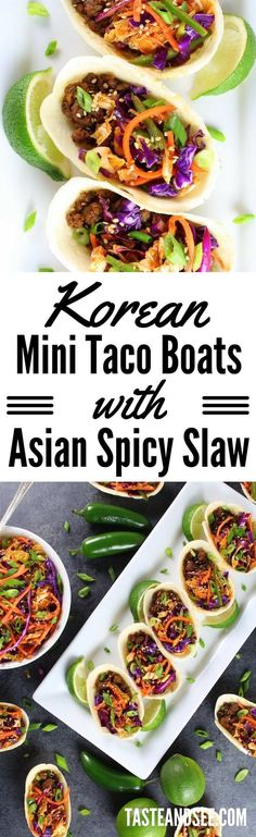 Korean Mini Taco Boats with Spicy Asian Slaw – your new favorite game day grub! | Asian | Appetizers | Tacos | http://tasteandsee.com  via @h_tasteandsee