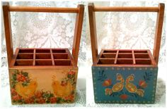 Adorable Vintage Wooden Handled Box, Wooden Tote w. Hand Painted Folk Art, Love Birds, Flowers, Baby Chicks