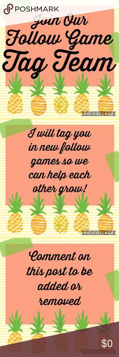 🍍YOU'RE INVITED 🍉JOIN OUR TAG TEAM Join us by commenting below that you would like to be added to my follow game tag list. It's simple: when I find a new follow game, I will play by liking, following & SHARING (to you!!). Then, you can choose if you want to participate. Eventually, everyone who liked that follow game will end up following you and vice versa. I have discovered that these games have helped me grow in followers and PFF's more than anything else & has made tons of sales from…