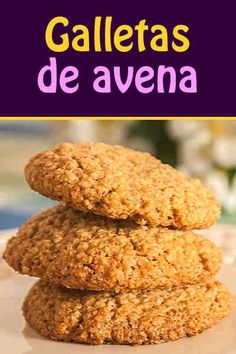 Galletas de avena #receta #galletas #avena Cookie Desserts, Healthy Desserts, Healthy Cooking, Healthy Recipes, Tortas Light, Good Food, Yummy Food, Sin Gluten, Pan Dulce