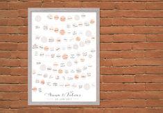 Auf dem modernen Gästeposter unterschreiben bis zu 100 Gäste auf den kleinen Lampions - das etwas andere Gästebuch für eine besondere Erinnerung an den schönsten Tag im Leben. Guestbook, Anna, Layout, Decoration, Newlyweds, Beautiful Day, Personalized Gifts, Prints, Design