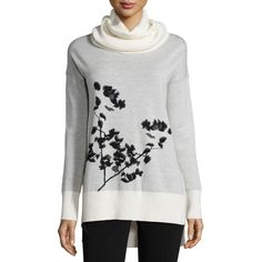 Diane von Furstenberg Ahiga Shadow Branches Cowl-Neck Sweater (208 AUD) ❤ liked on Polyvore featuring tops, sweaters, shadow branches i, long sleeve sweaters, drop shoulder sweater, drop shoulder tops, long sleeve cowl neck top and pullover sweater