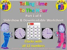 Zeb and Deb math part 4 of Telling time to the hour Time To The Hour, Telling Time, Family Events, Classroom Activities, Worksheets, Bring It On, Chart, Entertaining, Math