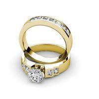 3.00CT Round and Princess Cut Diamond Bridal Set