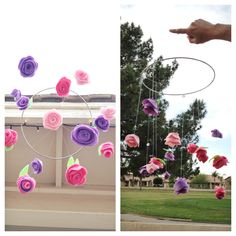 Small Felt Rose Hanging Mobile. Great addition to any little girls bedroom!