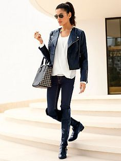 #Lederjacke #Schlupfbluse #Jeans #Sonnenbrille #Tasche #Stiefel