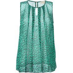 Michael Michael Kors Sheer Printed Tank ($58) ❤ liked on Polyvore featuring tops, shirts, green, transparent tops, sheer top, green shirt, see through tank top and green top