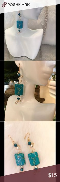 Blue touch (ByDionnise) Gold wire                                                                Blue marble stone with some blue and silver beads.                                                             Made with Care and love by Dionnise Jewelry Earrings