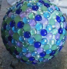 """12"""" Styrafoam Ball with Gems glued on with Elmers Craft Bond Glue"""