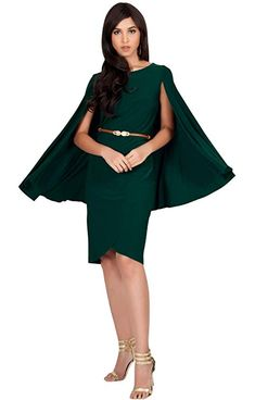 0da38d1ab9 Dresses I Love!!! KOH KOH Womens Cape Long Sleeve Round Neck Cocktail with  Leather Belt Mini Dress at Amazon