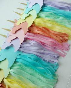 Rainbow unicorn tassel garland in the making. Unicorn Birthday Parties, Mermaid Birthday, Unicorn Party, Birthday Party Decorations, Rainbow Unicorn, 5th Birthday, Birthday Ideas, Crepe Paper Crafts, Unicorns And Mermaids