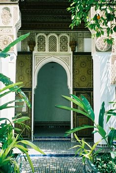 Moroccan riad with it's garden courtyard.