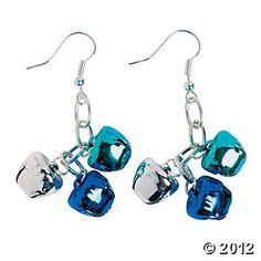 Etsy - Silver and Blue Jingle Bell Earrings