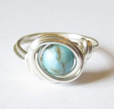 wire rings | Turquoise and Silver Wire Wrapped Ring
