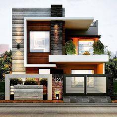 Modern Exterior House Designs, Modern Tiny House, Modern House Plans, Modern House Design, Exterior Design, Exterior Colors, Single Floor House Design, House Front Design, Small House Design