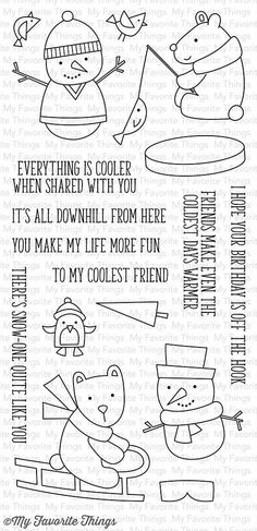 "MFT STAMPS: Cooler with You (4"" x 8.5"" Clear Photopolymer Stamp Set) This package includes Cooler with You, a 17 piece set including: - Sledding bear 2 1/16"" x 2 1/8"" - Ice fishing bear 2"" x 2 1/8"" -"