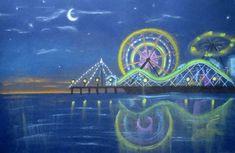 Creator's Joy: Ferris Wheel at Night Chalk Pastel Drawing