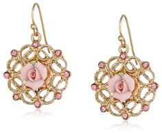 1928 Jewelry Gold Tone Pink Porcelain with Light Rose Accent Filgree Drop Earrings * For more information, visit image link.
