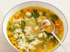 This week's Most Popular Pin of the Week, Food Network Magazine's Italian Wedding Soup, gets a twist with the addition of orzo, a tiny rice-shaped pasta, that adds a delicate texture. Healthy Soup Recipes, Cooking Recipes, Healthy Meals, Easy Recipes, Popular Recipes, Cooking Tips, Salad Recipes, Healthy Food, Vegan Recipes