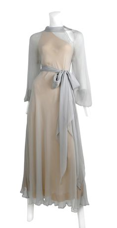 Authentic vintage HALSTON from Resurrection Vintage  GREY CHIFFON GOWN
