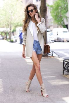 spring / summer - street chic style - neutral layers - street style - summer outfits - beach outfits - white tee + leopard print sunglasses + beige blazer + denim shorts + beige peep toe ankle heeled boots