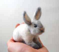 Needle Felted Bunny . Little White Felted Rabbit . Miniature Felted Animal . Easter Bunny. Springtime on Etsy, $58.88 AUD