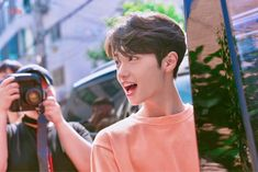 Image may contain: one or more people, camera, outdoor and closeup Nct Doyoung, Dsp Media, Theme Song, Handsome Boys, My Boyfriend, Lineup, Cute Boys, Rapper, Songs