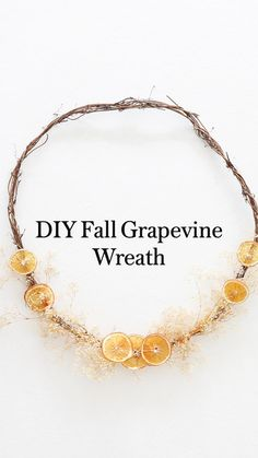 Diy And Crafts, Arts And Crafts, Wreath Crafts, Orange Slices, Consumer Products, Fall Wreaths, Diy Wall Decor, Grapevine Wreath, Dried Flowers