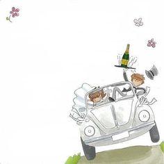 Just Married Couple. Happy Anniversary Wedding, Wedding Wishes, Wedding Cards, Wedding Invitations, Karten Diy, Wedding Illustration, Borders For Paper, Wedding Scrapbook, Diy Wedding Decorations