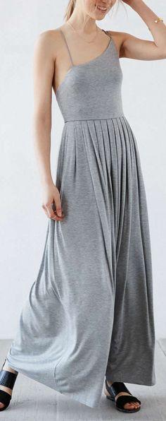 asymetrical jersey maxi dress