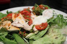 Lemon-thyme roast chicken salad with red pepper pesto and tomato dressing and garlic yoghurt Roast Chicken, Chicken Salad, Red Peppers, Main Meals, Pesto, Delish, Garlic, Salt, Lemon