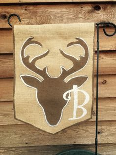 Burlap Garden Flag with Deer Stag and Monogram by ModernRusticGirl