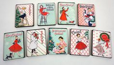 Christmas Wishes  9 Wooden Retro Tiles by porkchopshow on Etsy