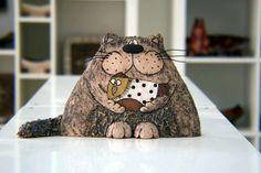 Keramik Katze Katze Skulptur Keramik und Keramik von GappaPottery                                                                                                                                                                                 Mehr