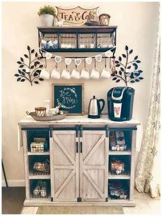 70 Creative Coffee Bar Ideas for Your Comfortable Home ~ Decor, Home Decor Kitchen, Coffee Bar Home, Cozy House, Kitchen Decor, Home Decor, Bars For Home, Home Coffee Stations, Home Kitchens